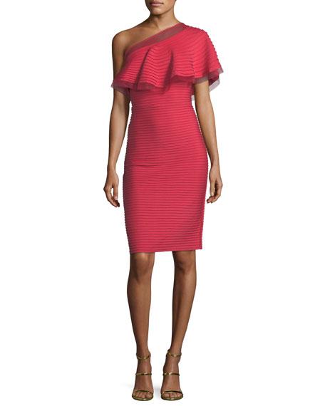 Asymmetric-Ruffle Overlay Pleated Cocktail Dress