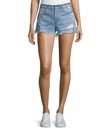 3x1 Shelter High-Rise Stripped Denim Shorts
