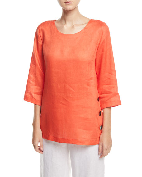 Caroline Rose Tissue-Linen Side Button Top, Petite