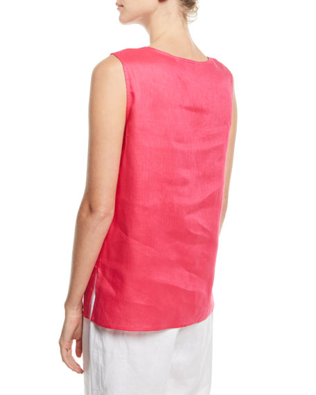Tissue-Linen Long Tank Top, Plus Size