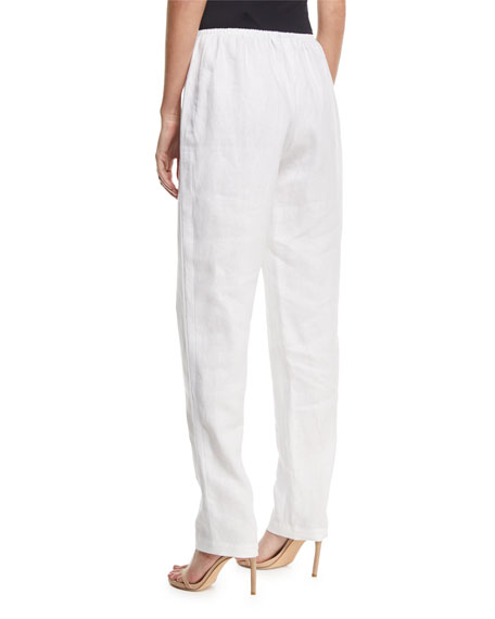Slim-Leg Linen Pants, Plus Size