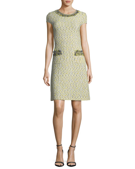 St. John Collection Romee Tweed Fringe-Pocket Dress