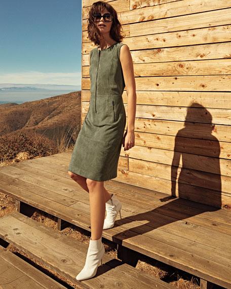 Suede Front-Zip Sheath Dress