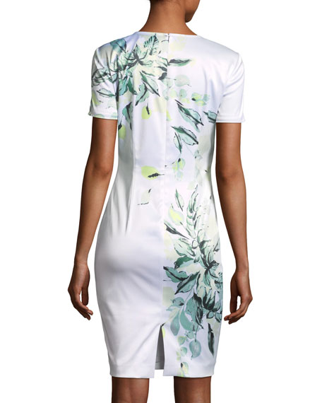 Painted Leaves Stretch-Satin Dress