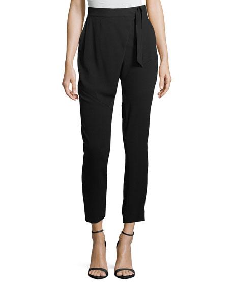 St. John Collection Lightweight Satin-Back Crepe Pants