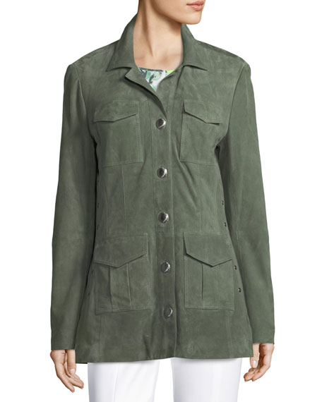 Suede Safari Grommet Jacket