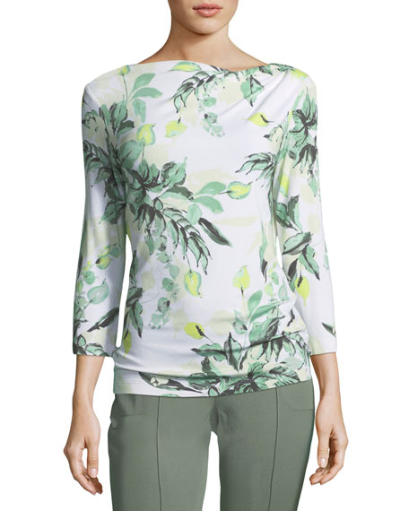 St. John Collection Leaf-Print Asymmetric Top