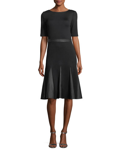 Milano Knit Leather-Combo Dress