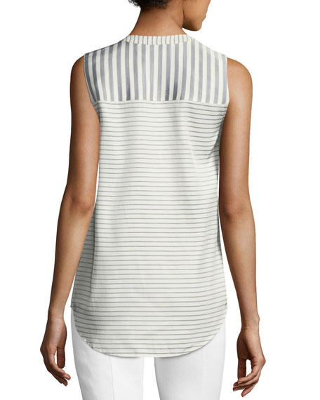 Narrow Stripe Twill Sleeveless Top