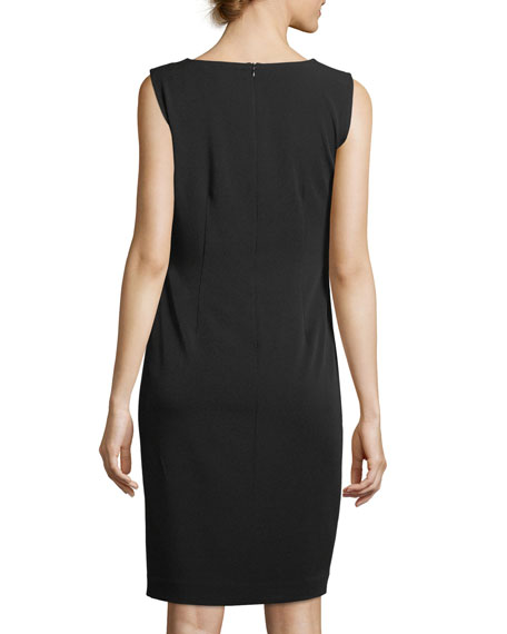 Stretch Crepe V-Neck Sheath Dress