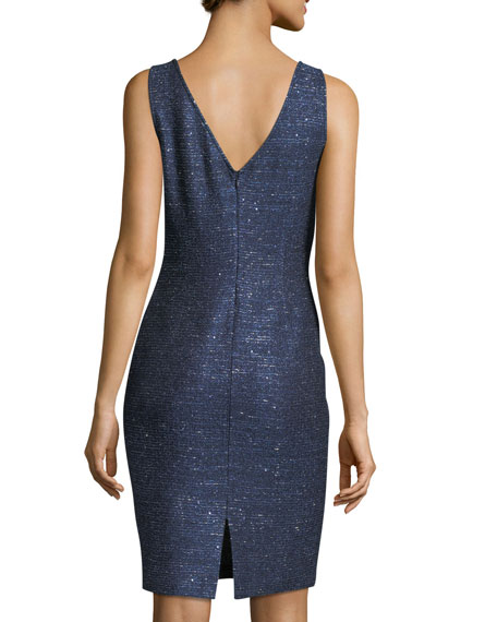 Encased Sparkle Knit V-Neck Cocktail Dress
