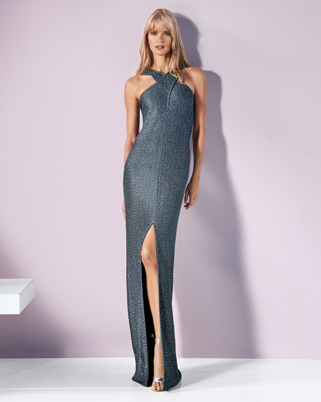 Crossover Halter Sequin Column Gown