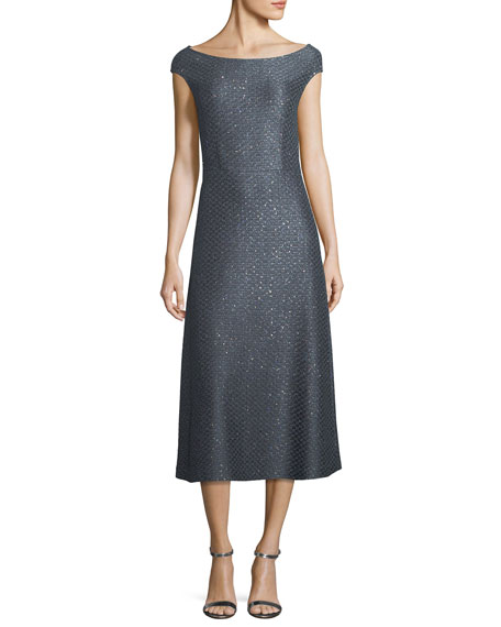 Spark Sequin Boat-Neck Cocktail Midi Dress