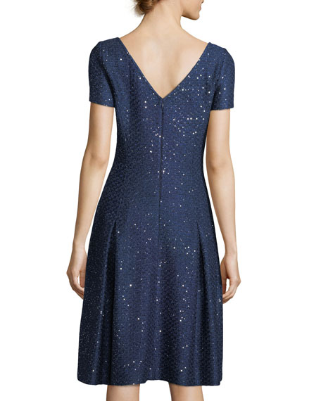 St. John Collection Sparkle Sequin Knit Fit-and-Flare Cocktail Dress