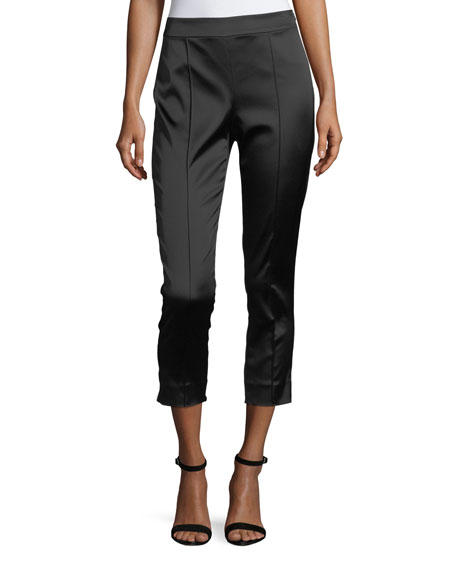 St. John Collection Satin Stretch Back-Ruffle Pants
