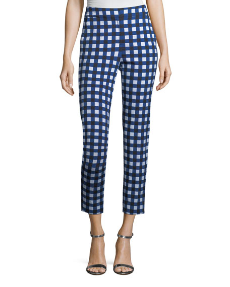 St. John Collection Gingham Stretch Capri Pants