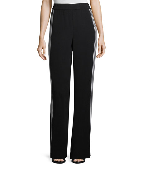 St. John Collection Drapey Side-Stripe Pants