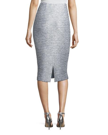 Glint-Knit Metallic Pencil Skirt
