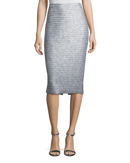 St. John Collection Glint-Knit Metallic Pencil Skirt