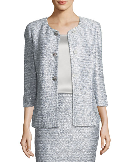 St. John Collection Glint-Knit Metallic Peplum Jacket