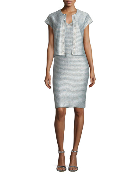 Gleam Metallic Knit V-Neck Cocktail Dress