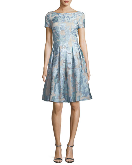 St. John Collection Organza Fit & Flare Floral