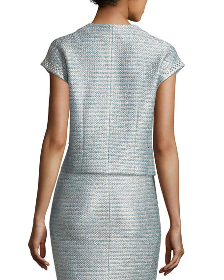 Gleam Metallic Knit Short-Sleeve Jacket