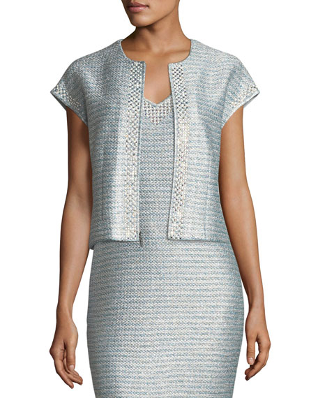 St. John Collection Gleam Metallic Knit V-Neck Cocktail