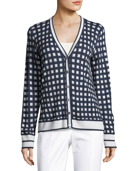 St. John Collection Gingham-Knit Long-Sleeve Cardigan