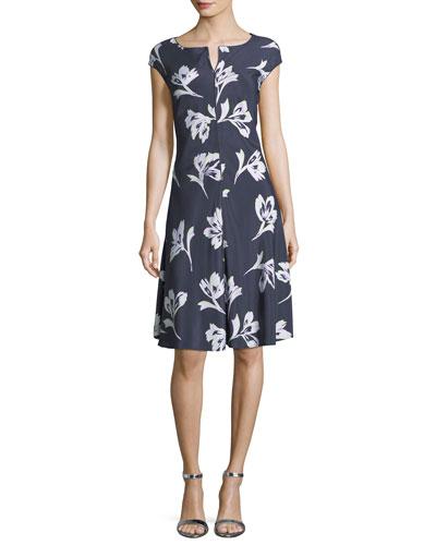 Falling Flower Short-Sleeve Silk Dress