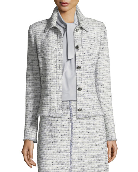 St. John Collection Josephine Tweed Fringe Jacket