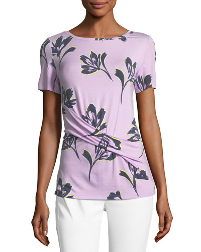 Falling Flower Ruched Short-Sleeve Top