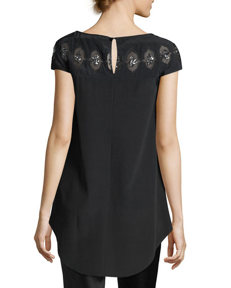 Embroidered Cutout Beaded Top