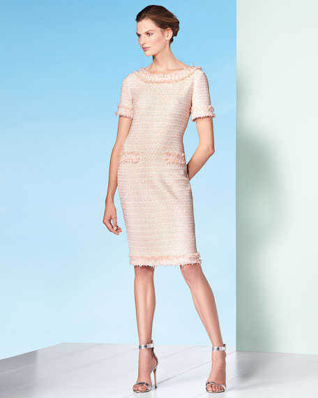 Lais Metallic-Knit Dress w/Fringe Trim