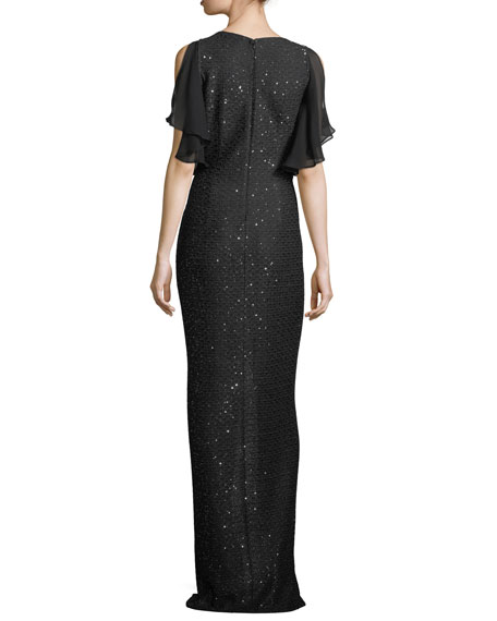Hansh Sequin-Knit Chiffon-Trim Gown