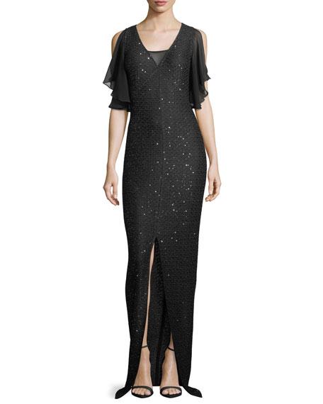 St. John Collection Hansh Sequin-Knit Chiffon-Trim Gown