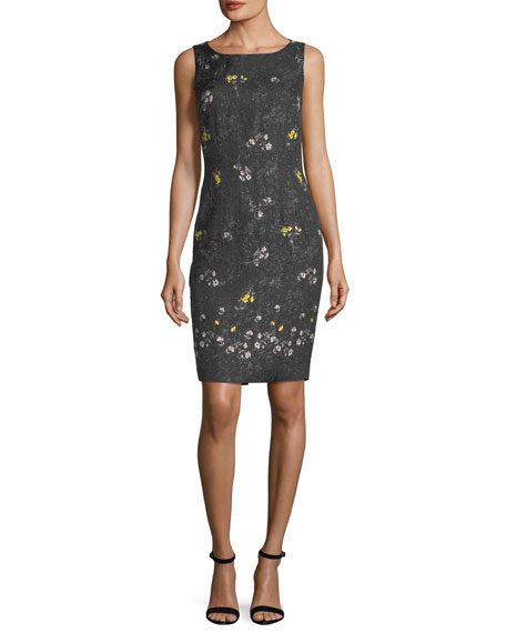Falling Bouquet Metallic Sheath Cocktail Dress