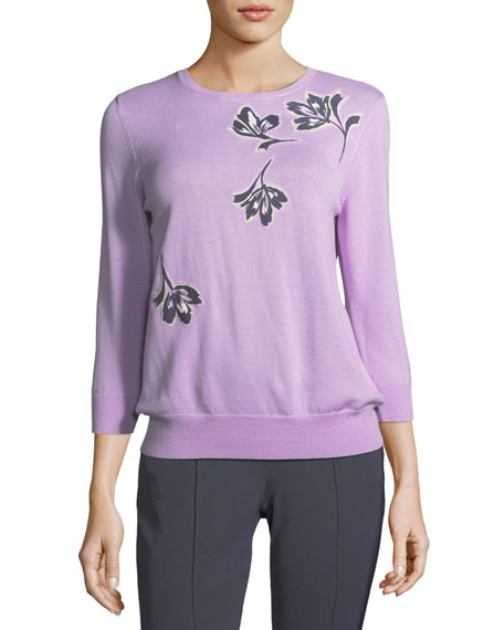 St. John Collection Falling Flower Pullover Wool Sweater