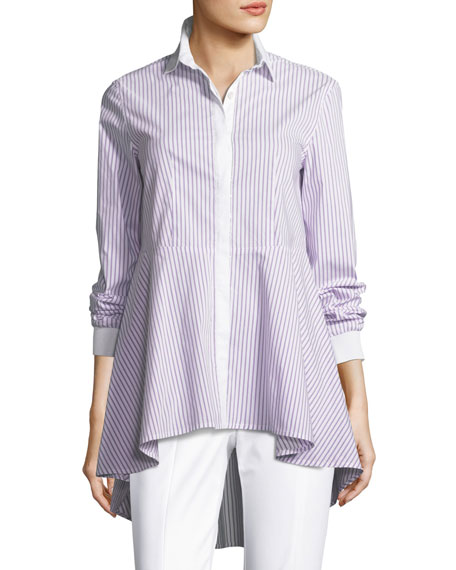 St. John Collection Pinstripe High-Low Long-Sleeve Top