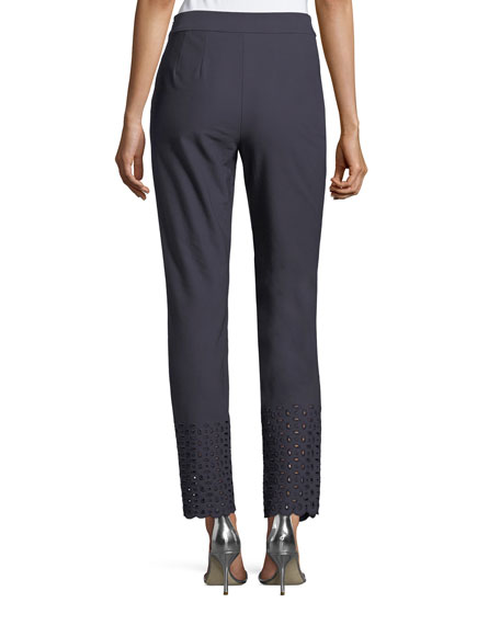 Twill Cropped Eyelet Stretch Pants