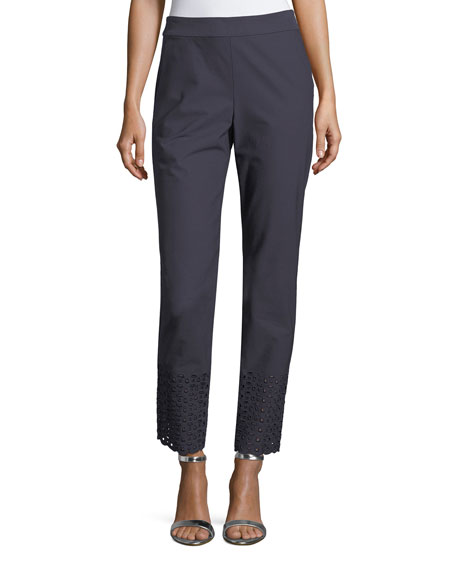 St. John Collection Twill Cropped Eyelet Stretch Pants