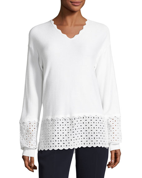 Mini Birdseye V-Neck Eyelet Sweater