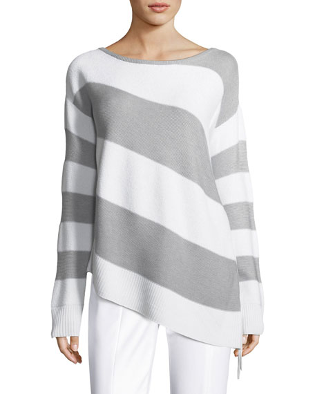 St. John Collection Striped Link-Textured Asymmetric Sweater