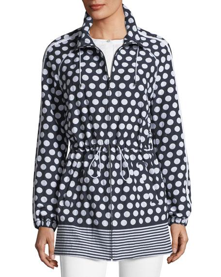 Dot-Print Draw-Cord Anorak Jacket