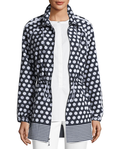 St. John Collection Dot-Print Draw-Cord Anorak Jacket