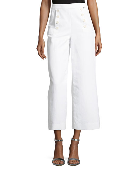 Cropped Wide-Leg Sailor Pants