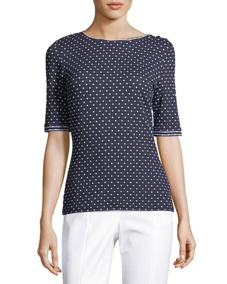 Dot-Print Short-Sleeve T-Shirt