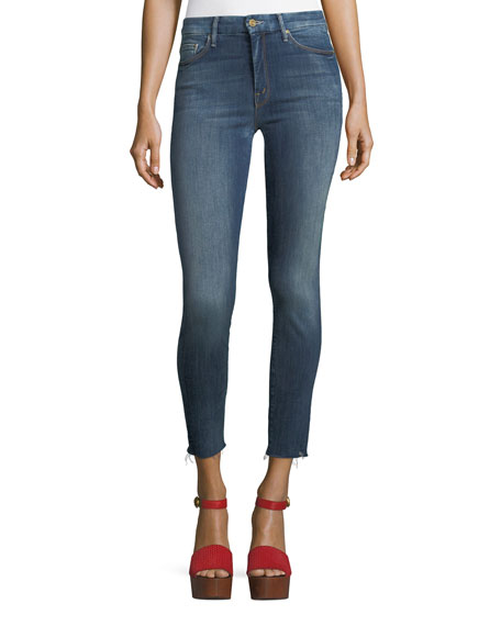 Mother Denim High-Waist Looker Ankle Raw-Edge Jeans