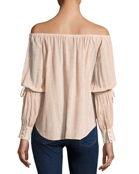 Tallulah Off-the-Shoulder Drawstring-Sleeve Linen-Blend Top