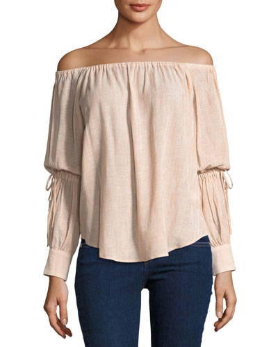 Tallulah Off-the-Shoulder Drawstring-Sleeve Linen-Blend Top